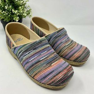 Dansko Jute Pro Clogs Colorful Striped Woven 39